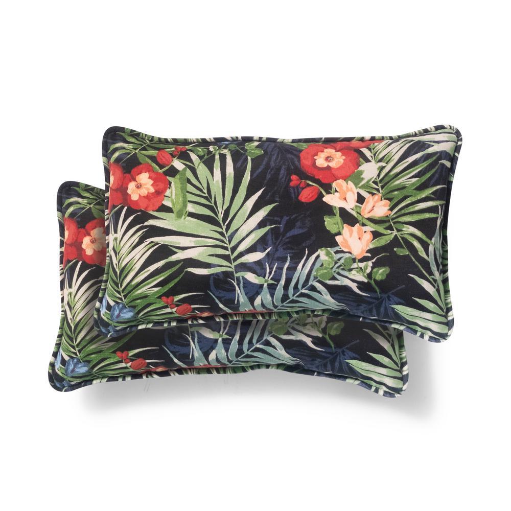 Hampton Bay 20 in. x 12 in. Black Tropical Outdoor Lumbar Pillow (2-Pack)