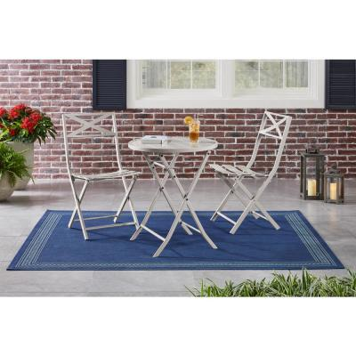 Mix and Match Folding Steel Slat Outdoor Bistro Chairs in Shadow Gray (2-Pack)