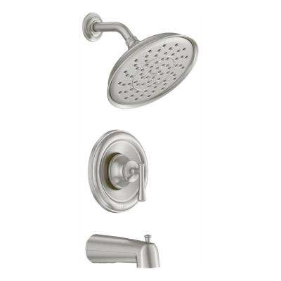 Ashville Single-Handle 1-Spray Tub and Shower Faucet with Valve in Spot Resist Brushed Nickel (Valve Included)