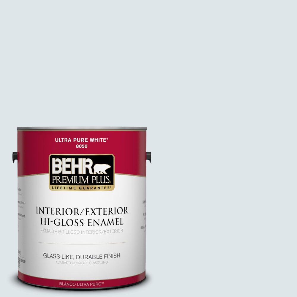 BEHR Premium Plus 1-gal. #BL-W3 Blue Bird Day Hi-Gloss Enamel Interior/Exterior Paint