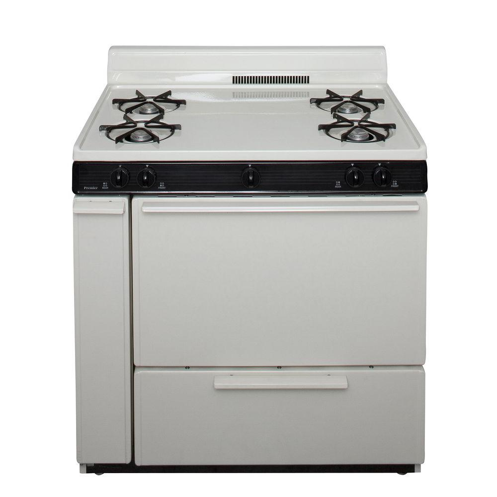 Premier 36 in. 3.91 cu. ft. Battery Spark Ignition Gas Range in Biscuit