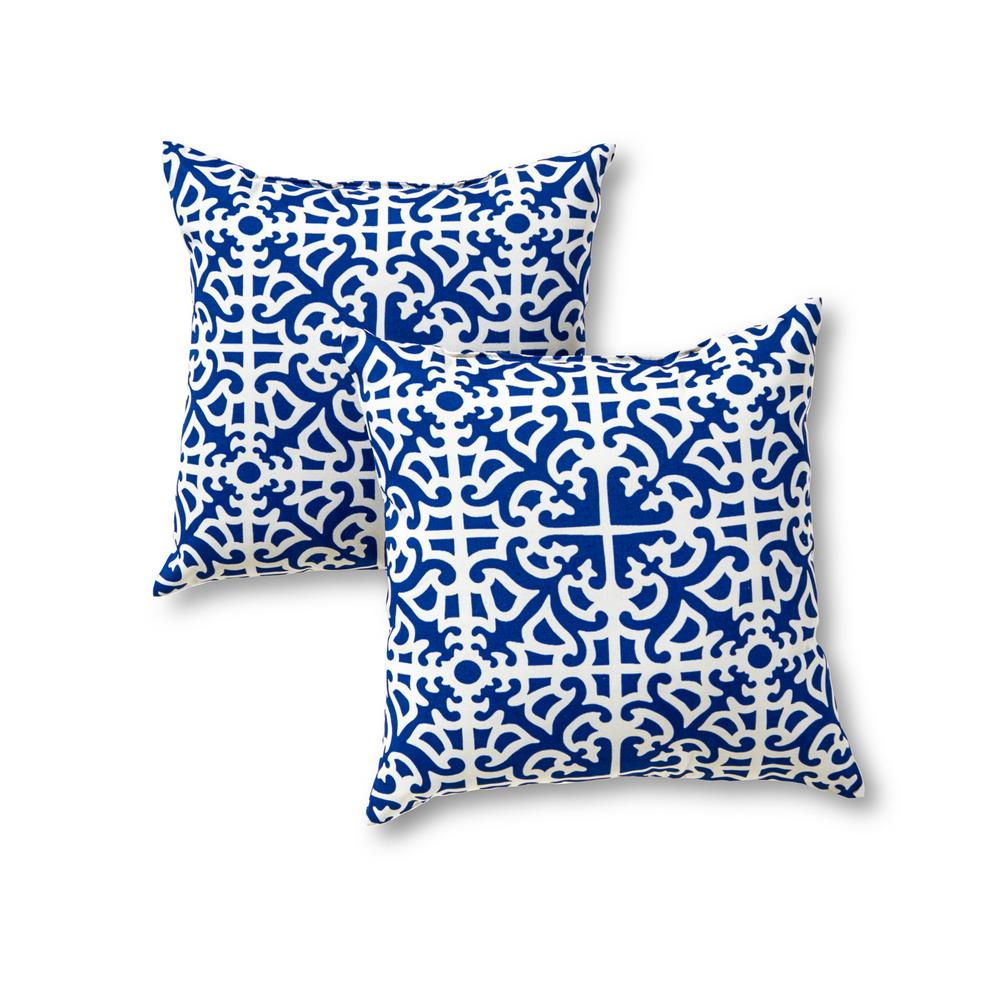 Greendale Home Fashions Indigo Lattice Square Outdoor Throw Pillow (2-Pack)