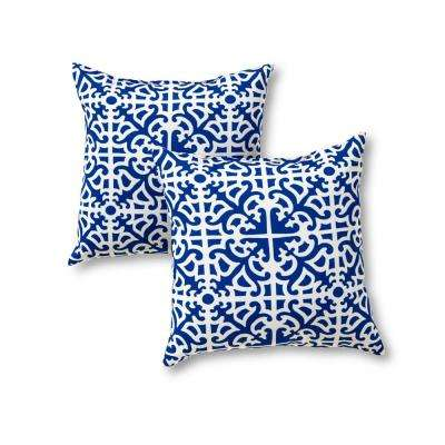 Indigo Lattice Square Outdoor Throw Pillow (2-Pack)