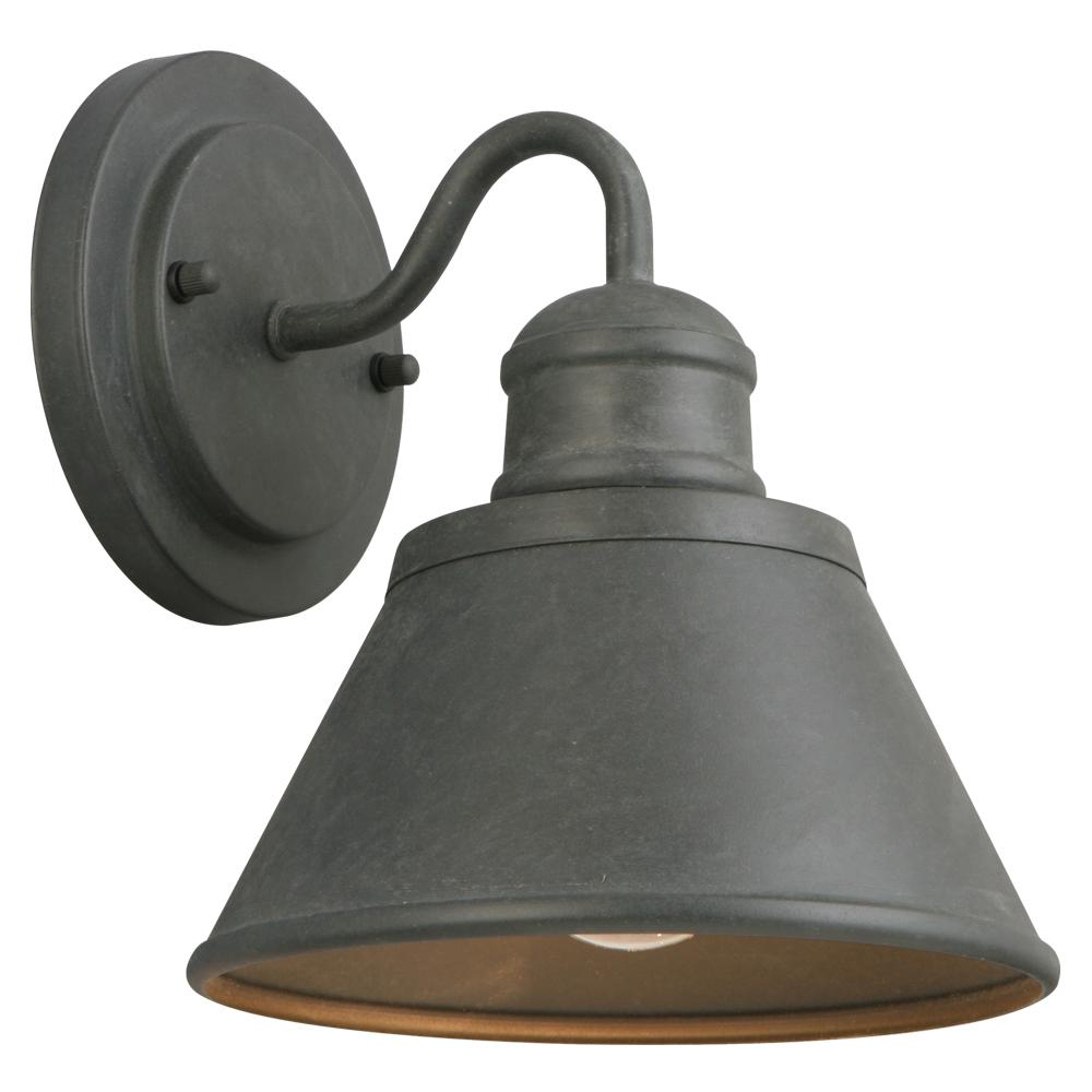 hampton bay 1 light zinc outdoor wall lantern hsp1691a the home depot