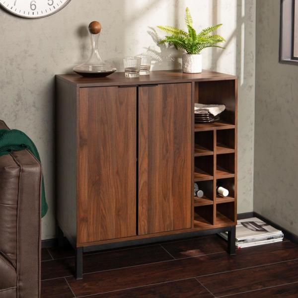 Modern Bar Sets For Home: Walker Edison Furniture Company Dark Walnut Modern Bar