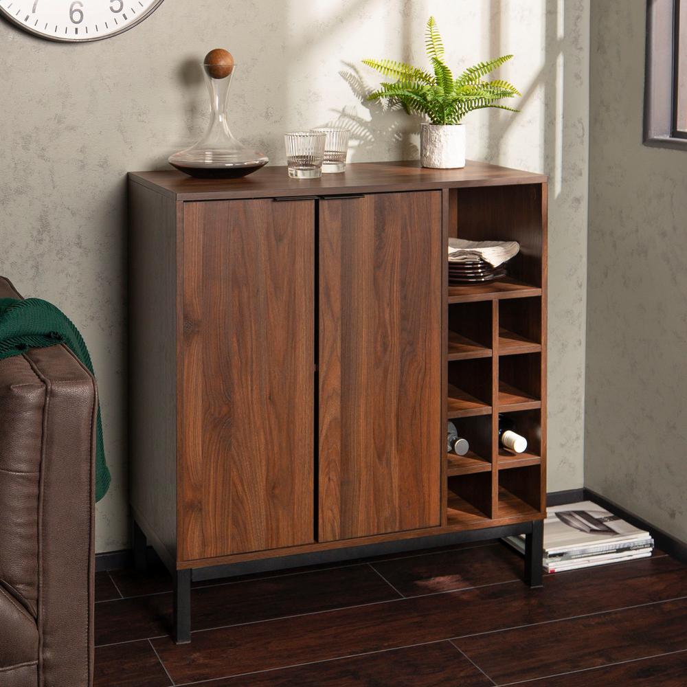 Dark Walnut Modern Bar Cabinet with Wine Storage