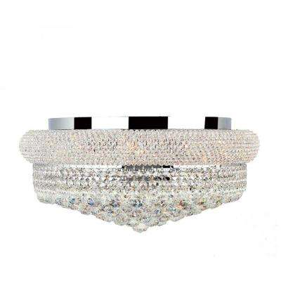 Empire Collection 10-Light Chrome and Crystal Flush Mount
