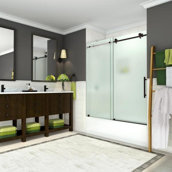 Coraline 56 in. to 60 in. x 60 in. Frameless Sliding Tub Door with Frosted Glass in New Bronze