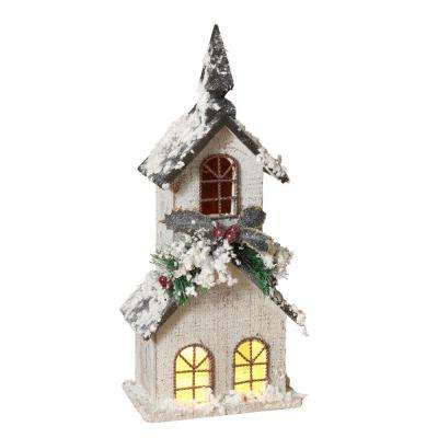 20 in. H Electric Lighted White Church