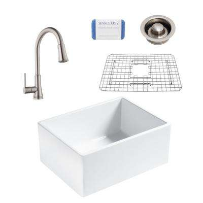 Wilcox All-in-One Farmhouse Apron Fireclay 24 in. Single Bowl Kitchen Sink with Stainless Faucet and Disposal Drain