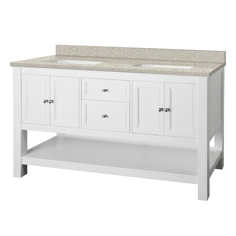 Home Decorators Collection Gazette 61 in. W x 22 in. D Vanity in White with Engineered Marble Vanity Top in Sedona with White Sink was $1399.0 now $979.3 (30.0% off)