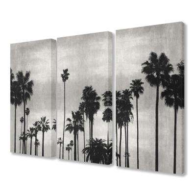 "16 in. x 24 in. ""Black and White Palm Tree Silhouette Scene"" by Artist Kate Bennett Canvas Wall Art(3Pieces)"
