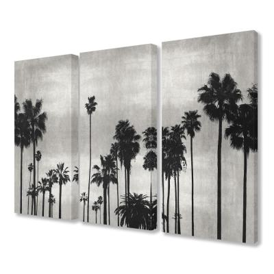 """16 in. x 24 in. """"Black and White Palm Tree Silhouette Scene"""" by Artist Kate Bennett Canvas Wall Art(3Pieces)"""
