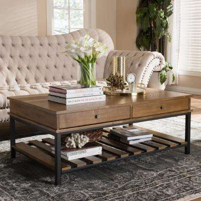 "Newcastle ""Oak"" Brown and Black 2-Drawer Coffee Table"
