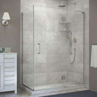 Unidoor-X 48-3/8 in. x 34 in. x 72 in. Frameless Hinged Shower Enclosure in Brushed Nickel