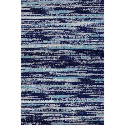 Hennessy Distressed Stripe Blue 5 ft. 3 in. x 7 ft. 10 in. Area Rug