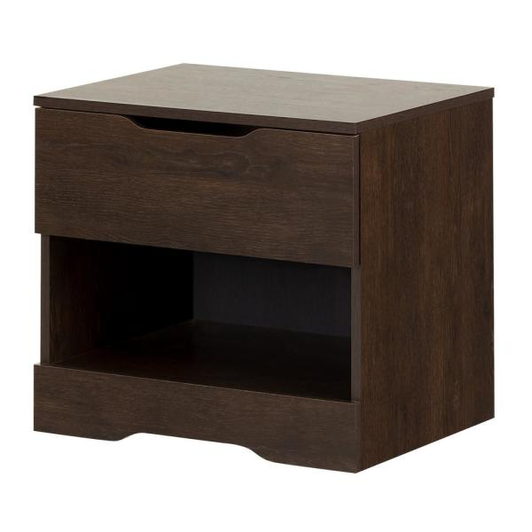 South Shore Holland 1-Drawer Brown Oak Nightstand 11166