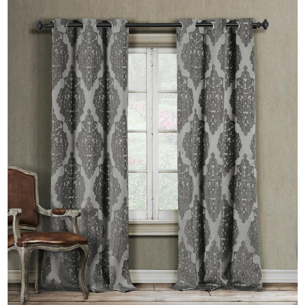 Duck River Catilie 38 In X 84 L Polyester Curtain Panel Grey 2 Pack 4360d 12 The Home Depot