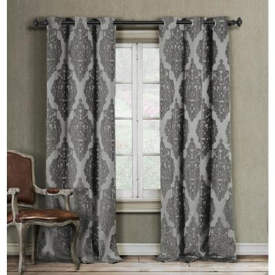Catilie 38 in. x 84 in. L Polyester Curtain Panel in Grey (2-Pack)
