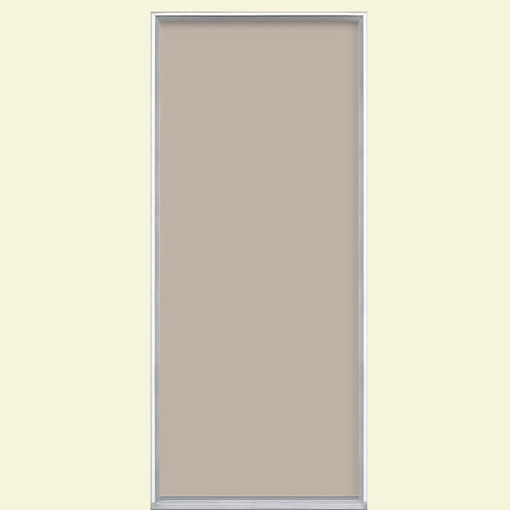 Masonite 36 in. x 80 in. Flush Right-Hand Inswing Canyon View Painted Steel Prehung Front Door No Brickmold in Vinyl Frame