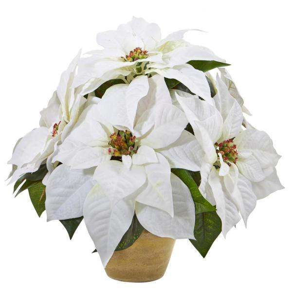 13in. Poinsettia Artificial Arrangement in Ceramic Vase