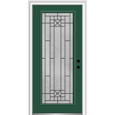 36 in. x 80 in. Courtyard Left-Hand Full-Lite Decorative Painted Fiberglass Smooth Prehung Front Door, 6-9/16 in. Frame