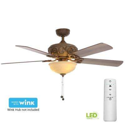 Palisades 52 in. LED Tuscan Bisque Smart Ceiling Fan with Light Kit and WINK Remote Control