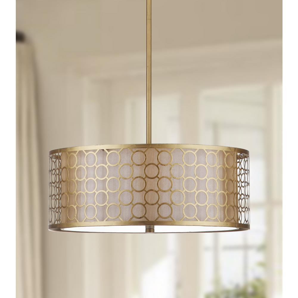 Safavieh Giotta Drum 3 Light Antique Gold Drum Pendant With Geometric Cream Shade Lit4203a The Home Depot