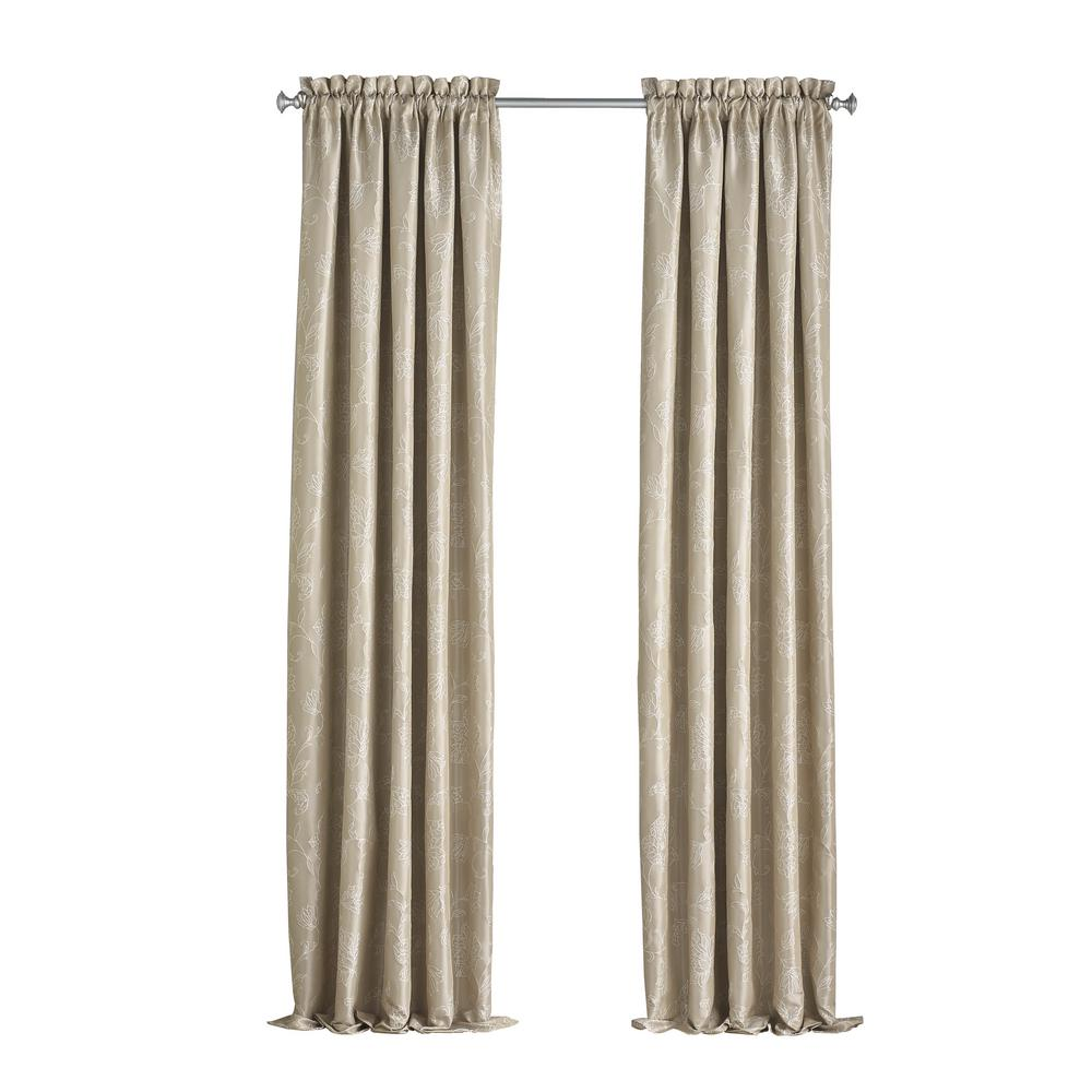 Eclipse Mallory Blackout Floral Window Curtain Panel in Cafe - 52 in. W x 63 in. L