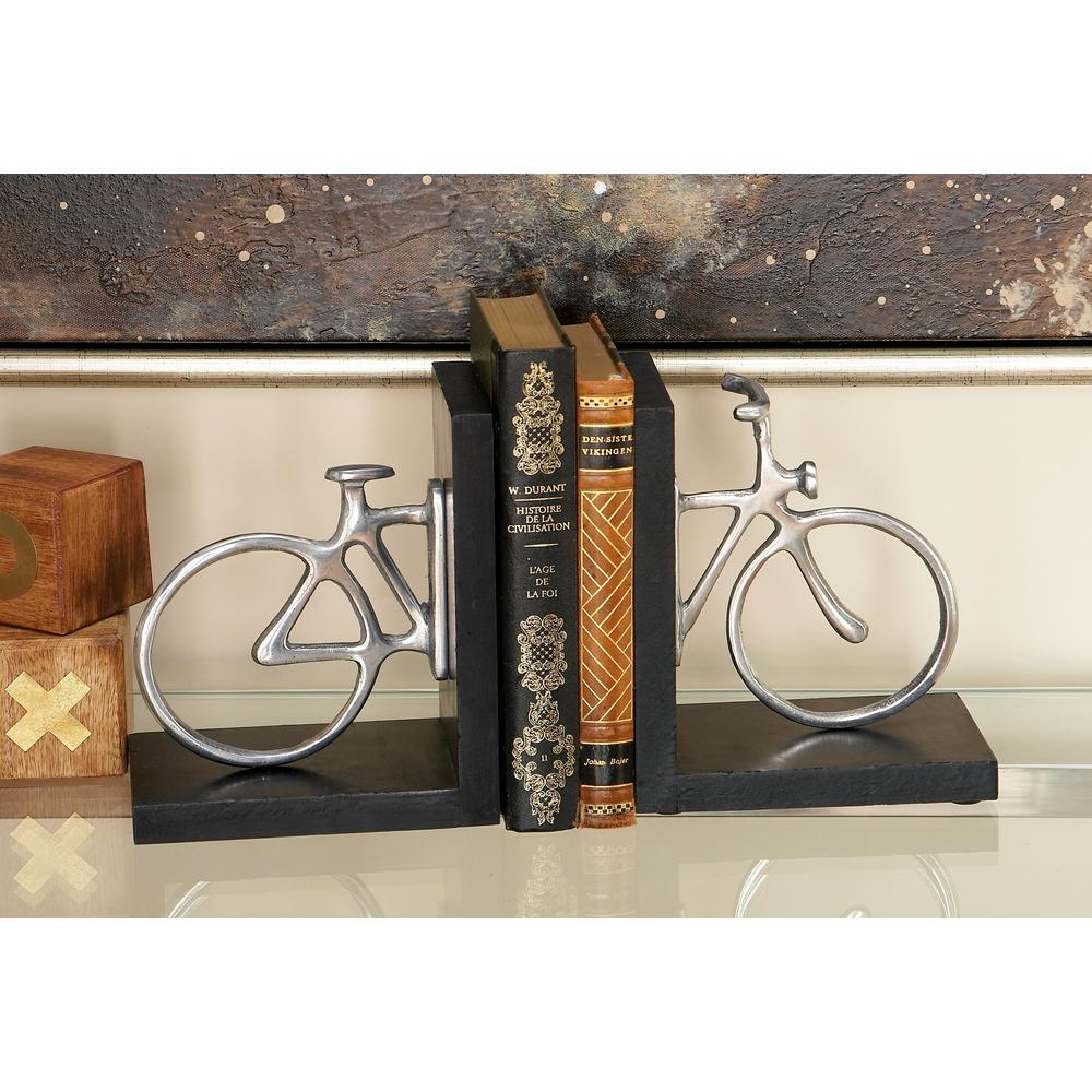 6 in. x 7 in. Silver Bicycle L-Shaped Bookends