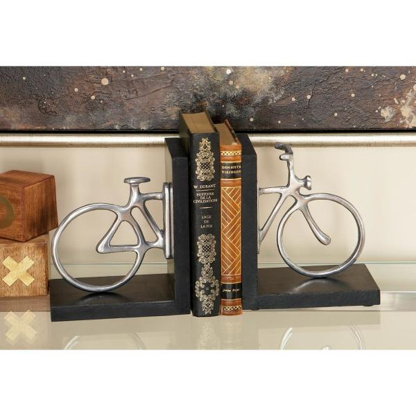Litton Lane 6 in. x 7 in. Silver Bicycle L-Shaped Bookends