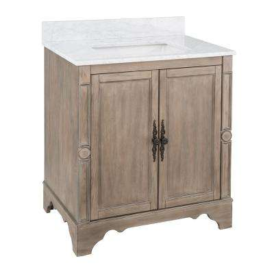 Astoria Park 31 in. W x 22 in. D Vanity in Antique Ash with Marble Vanity Top in Carrara with White Sink