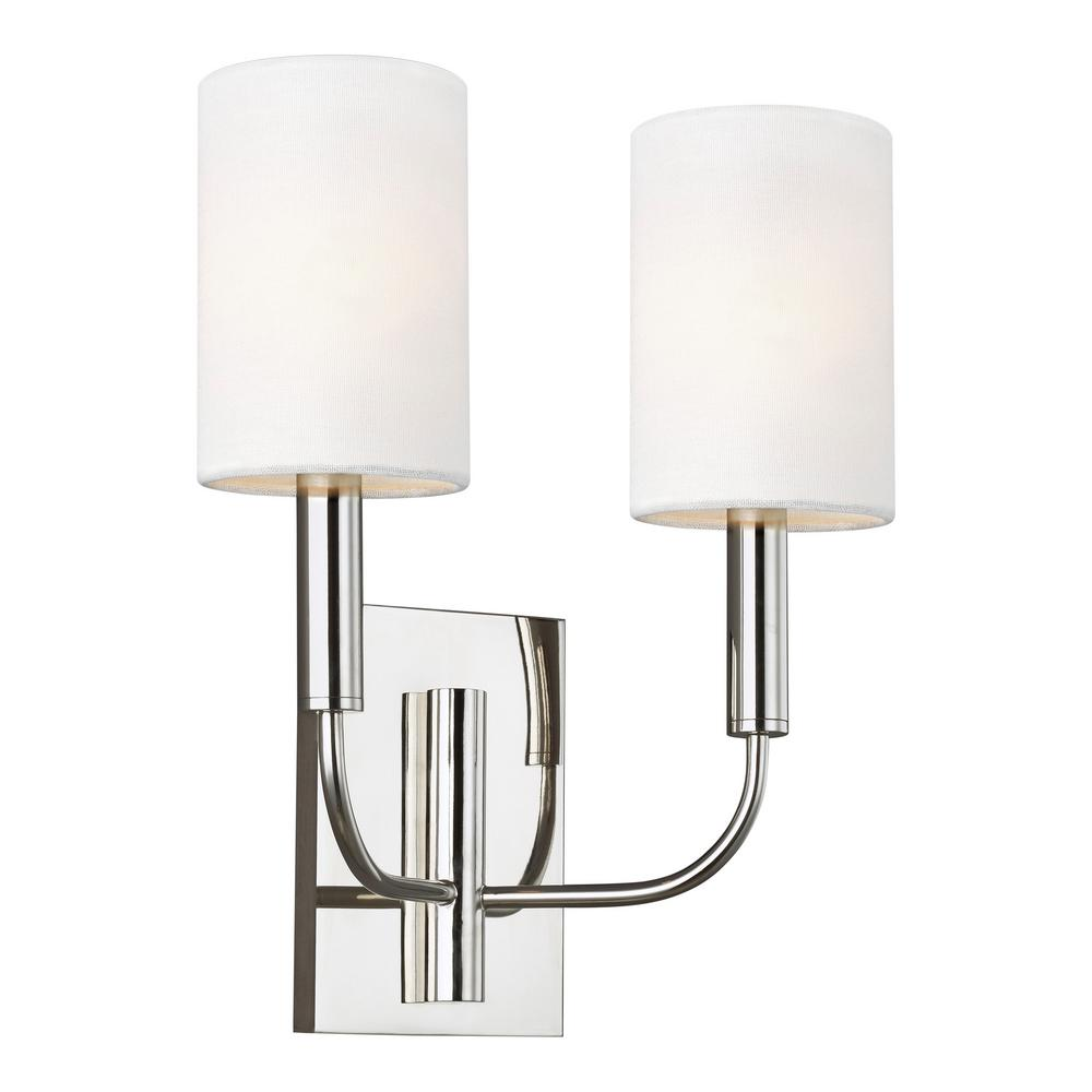 Generation Lighting Designer Collections ED Ellen DeGeneres Crafted by Generation Lighting Brianna 11.375 in. W 2-Light Polished Nickel Sconce with White Shades