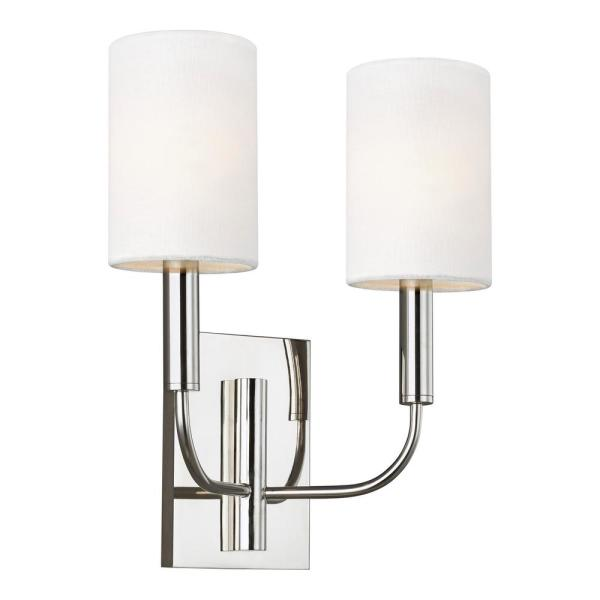 ED Ellen DeGeneres Crafted by Generation Lighting Brianna 11.375 in. W 2-Light Polished Nickel Sconce with White Shades