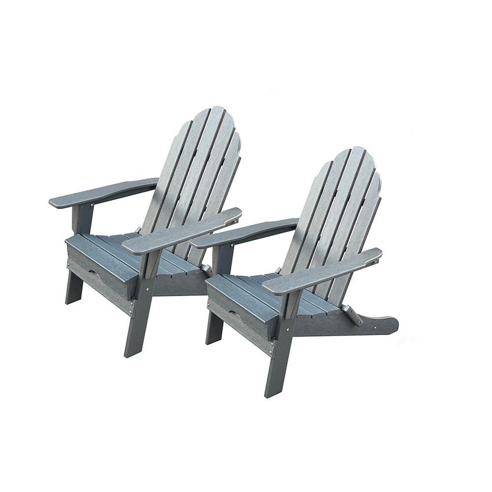 LuXeo Balboa Gray Folding Plastic Adirondack Chair (2-Pack)