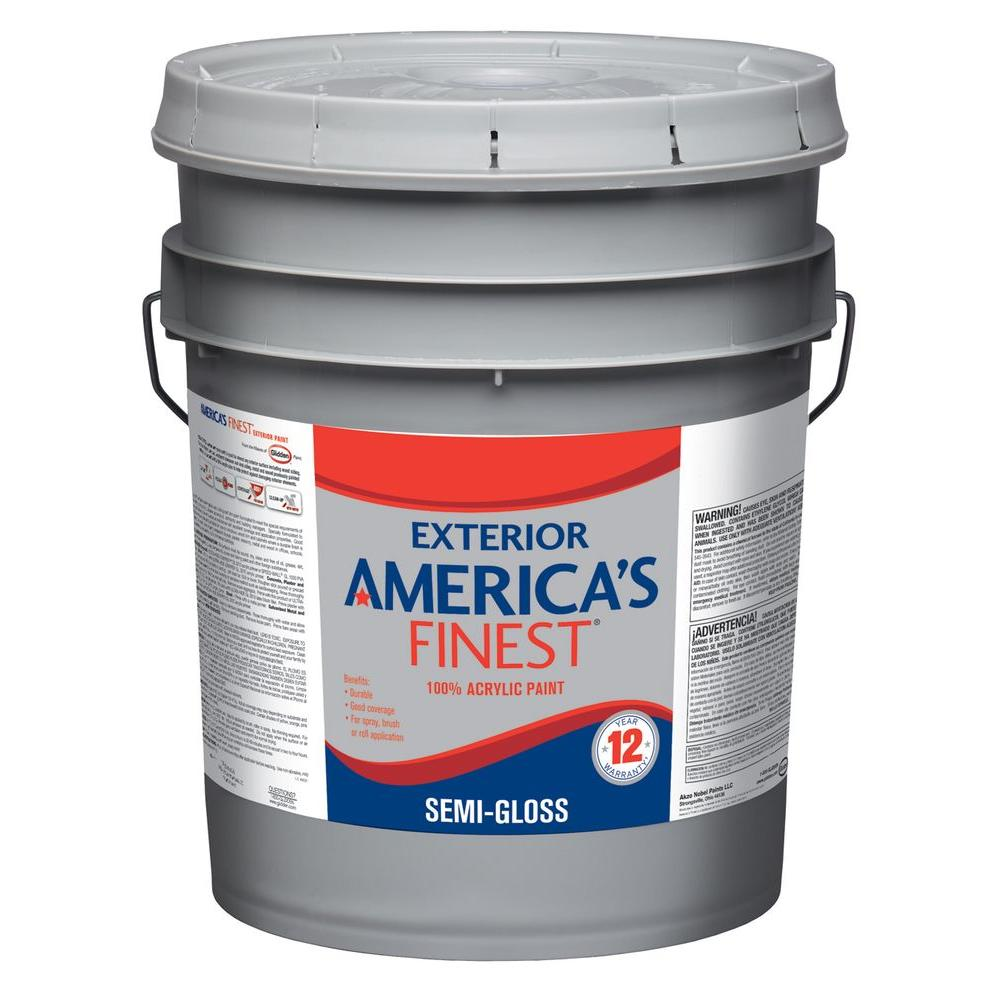 America 39 S Finest 5 Gal Semi Gloss Latex Light Colors Exterior Paint Af3311n 05 The Home Depot