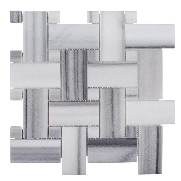 Camden White 12 in. x 12 in. x 10 mm Basket Weave Honed Marble Wall and Floor Mosaic Tile
