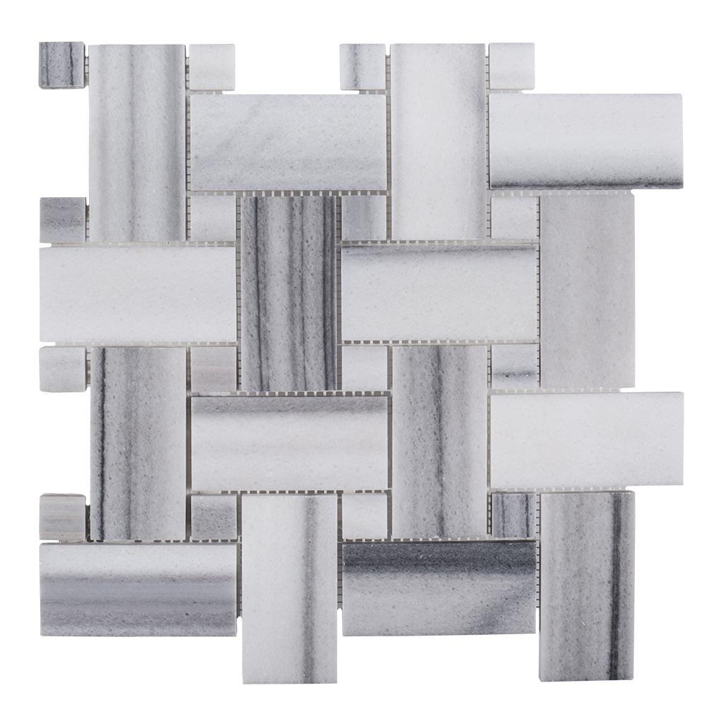 Jeff Lewis Camden 12 in. x 12 in. x 10 mm Marble Mosaic Tile-98484 - The Home Depot