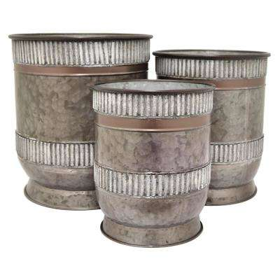 15.75 in. Gray Galvanized Containers (Set of 3)