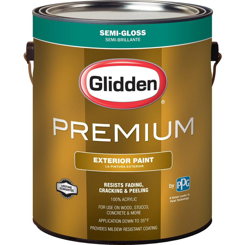Glidden Premium 1 gal. Semi-Gloss Latex Exterior Paint-GL6811-01 ...