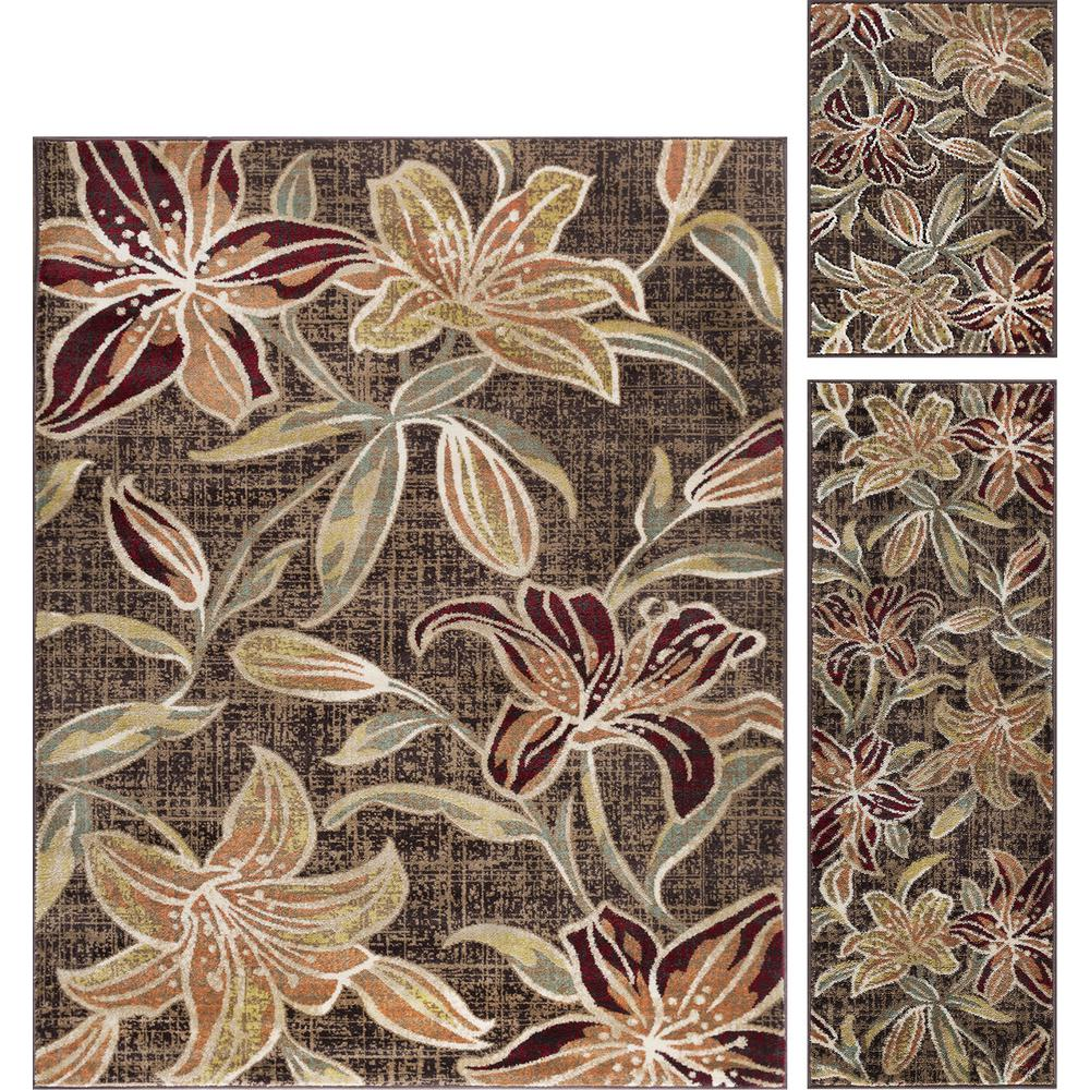 Deco Brown 5 ft. x 7 ft. Floral 3-Piece Rug Set