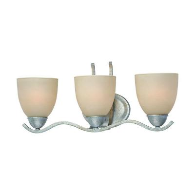 Triton 3-Light MoonLight Silver Bath Fixture with Tea Stained Glass Shade