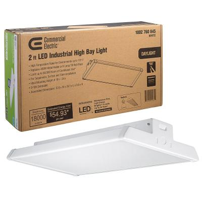 2 ft. 400- -Watt Equivalent Integrated LED Dimmable White High Bay Light High Output 18,000 Lumens 5000K Daylight