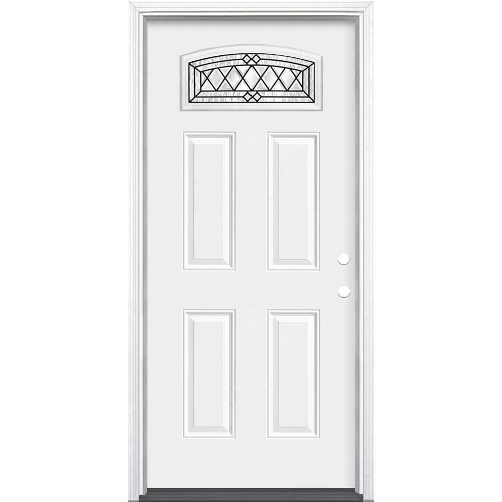 36 in. x 80 in. Halifax Camber Fan Lite Left Hand Inswing Primed Steel Prehung Front Exterior Door with Brickmold