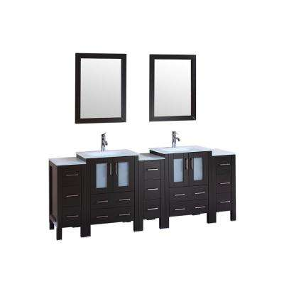 84 in. W Double Bath Vanity with Tempered Glass Vanity Top in White with White Basin and Mirror