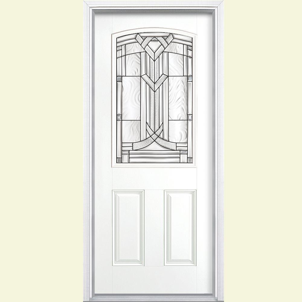 Masonite 36 in. x 80 in. Chatham Camber Top Half Lite Right-Hand Painted Smooth Fiberglass Prehung Front Door w/ Brickmold