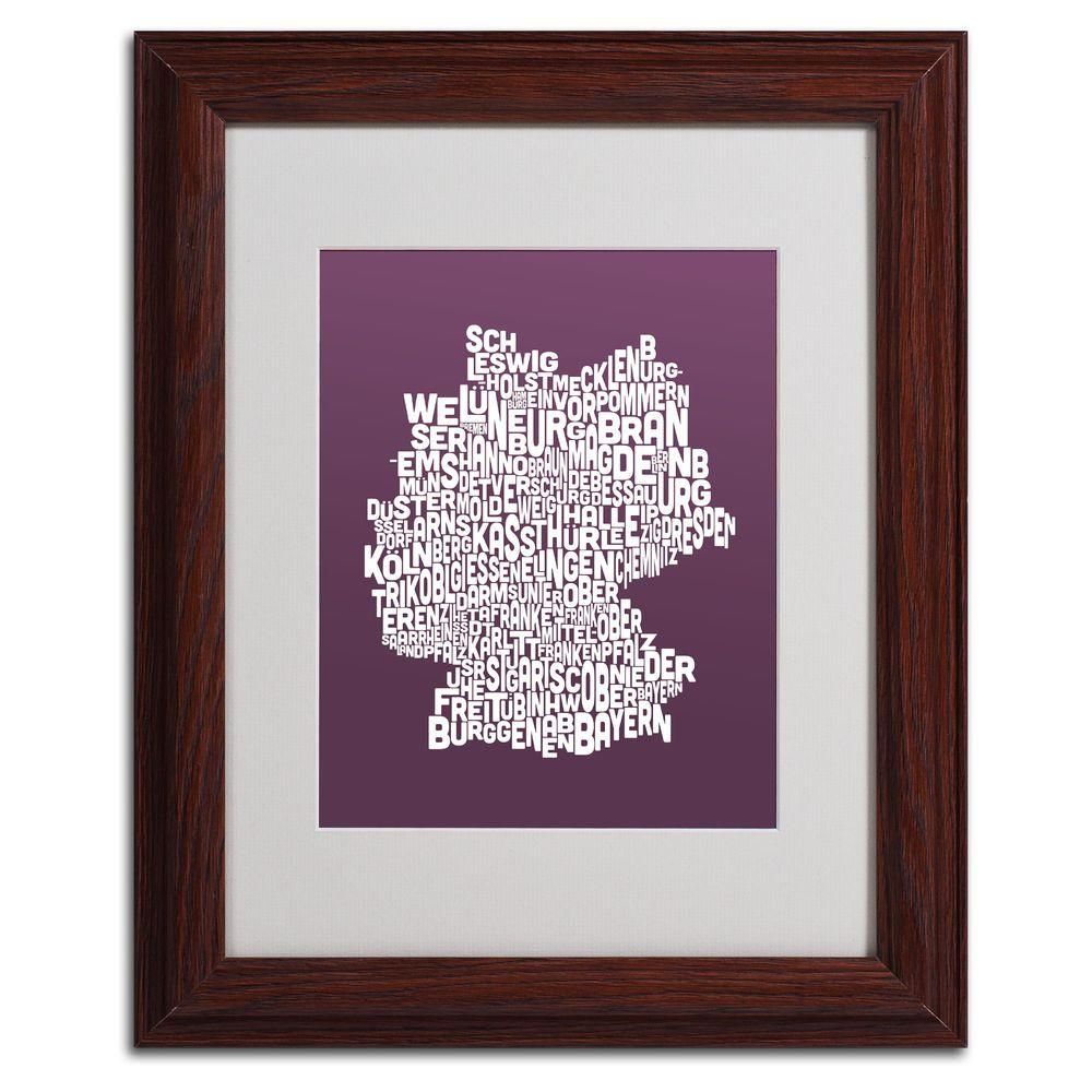11 in. x 14 in. Germany Regions Map - Mulberry Matted
