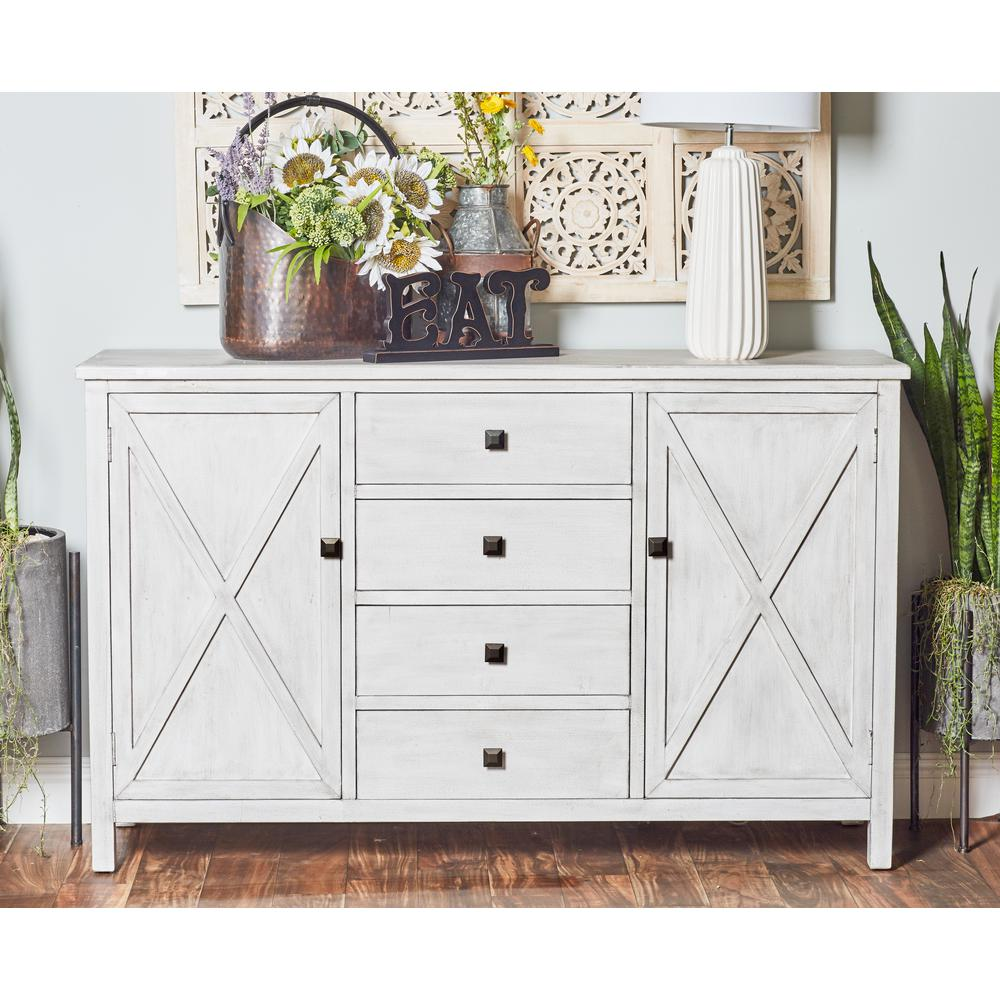 Farmhouse Style Rectangular Buffet White Cabinet With