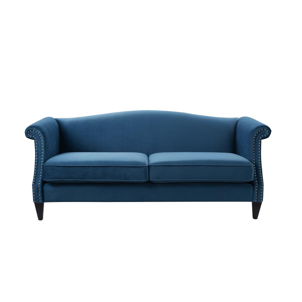 Jennifer Taylor Elaine Satin Teal Camel Back Sofa
