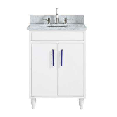Layla 25 in. W x 22 in. D x 35 in. H Bath Vanity in White with Marble Vanity Top in Carrara White with Basin